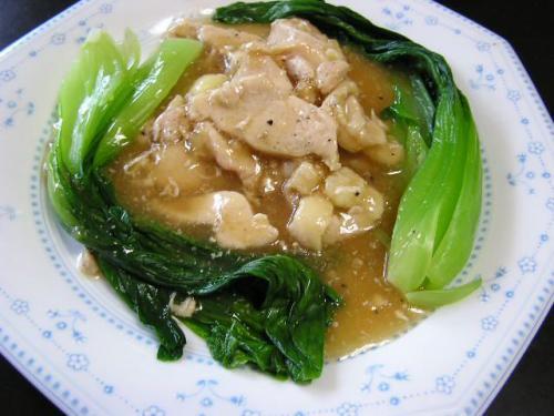 鶏とチンゲン菜のオイスターソース炒め