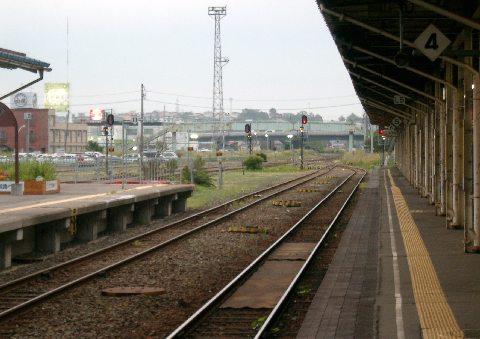 釧路駅からの、根室本線(花咲線)の線路