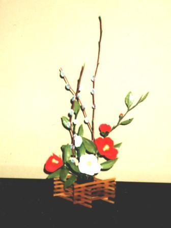 080108-1_ネコ柳&紅白椿