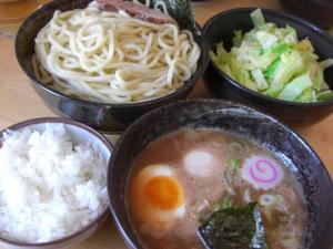 09032311満帆伊勢崎・塩もりそば(甘ぬき)中盛り ライス&野菜