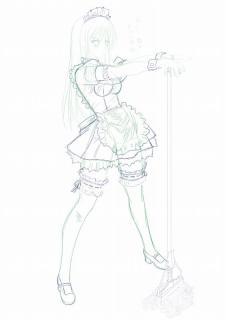セイバーのメイド服を着てる古手川嬢