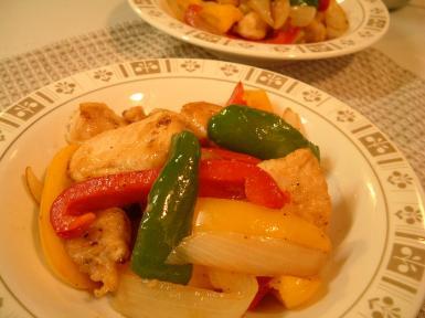 鶏とパプリカの炒め物