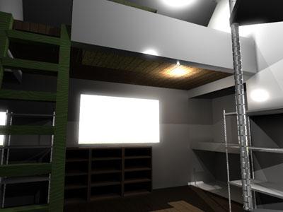 アパート室内:ハシゴ下から