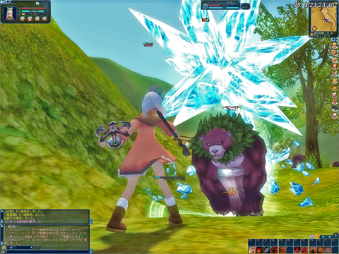 熊との戦い!足止め魔法ないんですけど、敵のHPが意外と少なくて助かり~^^