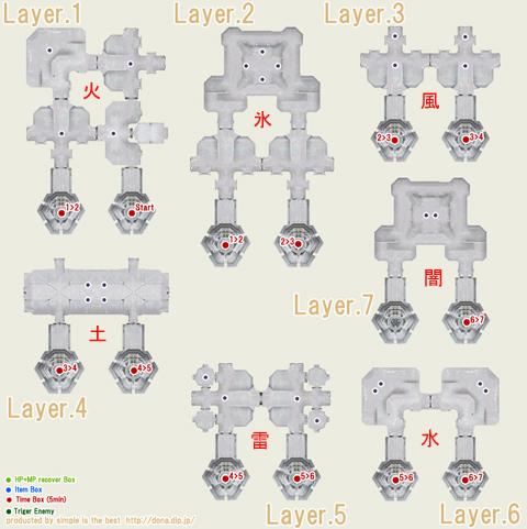 テメナス東です、Layer.1のStartから開始で、Layer.7の真ん中の点2つのどちらかがあたりです!