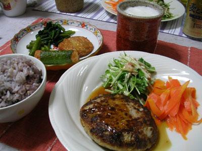 080608豆腐ハンバーグ、にんじんのグラッセ、水菜とツナのサラダ (1)
