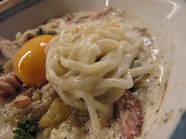 冷しカルボナーラの麺