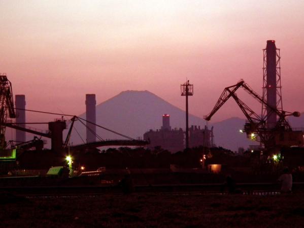 東扇島西公園での夕日の眺め(2)