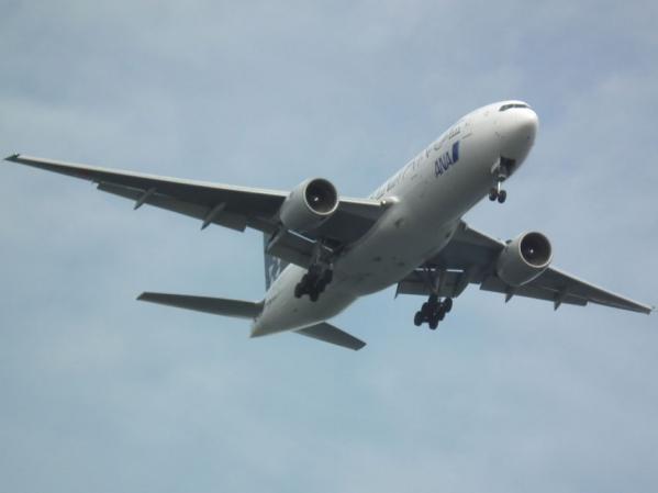 城南島海浜公園 頭上を飛ぶ飛行機を撮る(3)