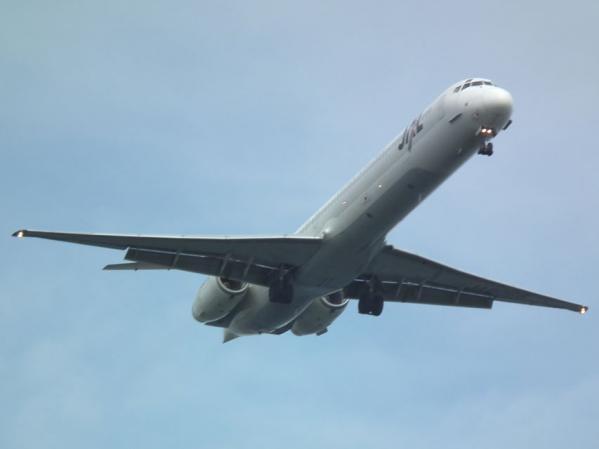 城南島海浜公園 頭上を飛ぶ飛行機を撮る(4)