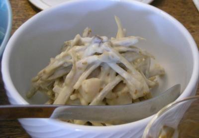 日曜ランチのホームパーティー!ごぼうとホタテの白ごま味噌和え 2008.6.1