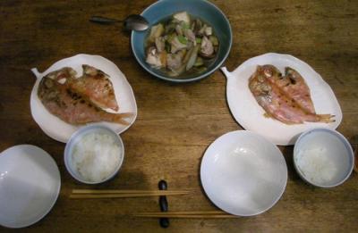 干物と煮ものと炊きたてご飯!2008.6.2