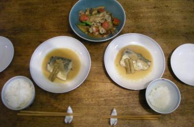 サバの味噌煮と中華風豚肉と野菜のしっとり炒め!2008.6.5