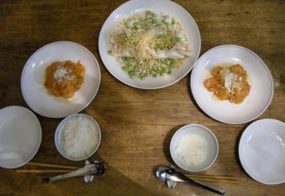 豆腐と鶏のささみのサラダと海老ちりちり!2008.6.6