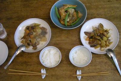 酢豚とぶりとタケノコの煮もの。2008.6.10