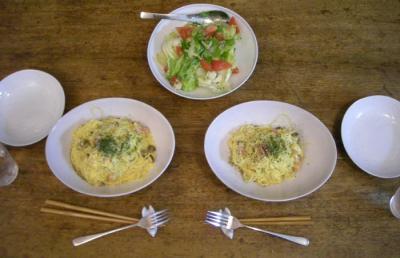 カルボナーラとさっぱりサラダ!2008.6.19