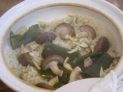今夜も炊込みご飯!キノコとあさりの炊込みご飯!2008.7.3