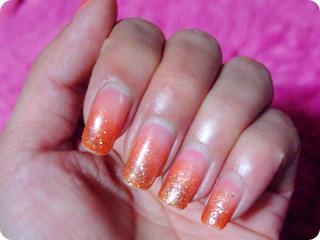 ピンク×オレンジ ジューシィーネイル