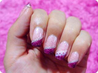 ピンク×パープル ナナメフレンチ