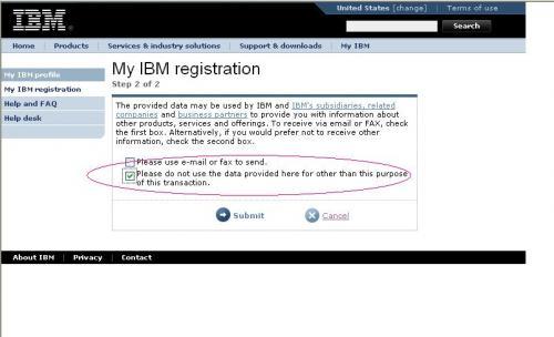 あなたの情報をIBMの企業活動のために使ってよいか という質問