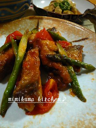 鯖と焼き野菜のスイートチリ炒め