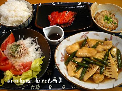 鶏肉と筍の山椒炒め、カレイみりんのお夕食