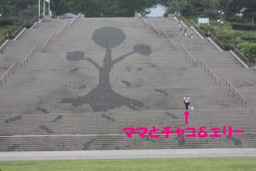 階段には大きな木が描かれています