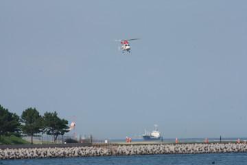 ヘリコプターが飛んでいました、操縦訓練していたみたい?