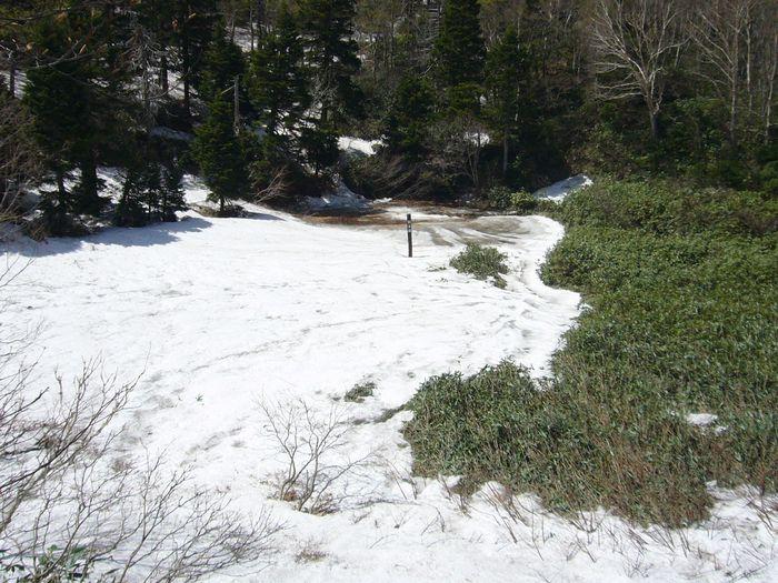 目玉沼・・まだ雪が覆っています