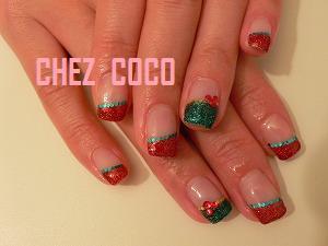 クリスマス赤ラメフレンチ+ホロ