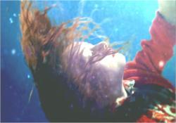 事故で湖に沈んでいくパコのイメージ映像。