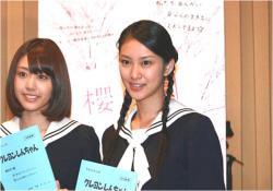武井咲(右)と、はねゆり(左)。クレヨンしんちゃんのアフレコスナップ写真