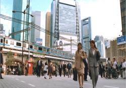 15時15分、新橋駅前
