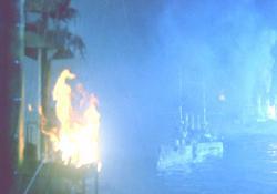 撃沈されていくロシア艦隊