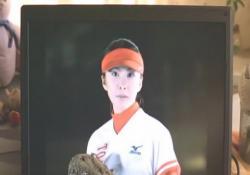 パソコンのモニターに映しだされている田口の雄姿