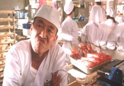 むくれている、鮮魚職人しんちゃん