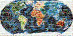 モザイクアート世界地図