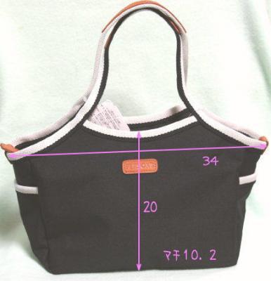 黒のホワイトラインの小さめバッグ