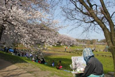 桜の画を描く人