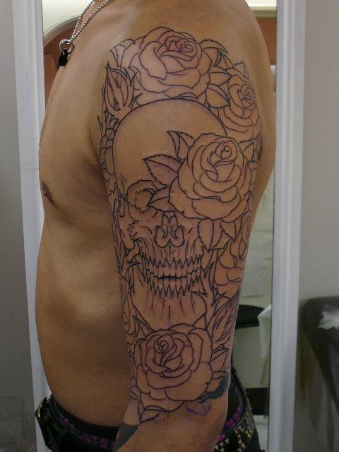 TATTOO KOBAYASHI SKULL&ROSE DAY OF THE DEAD