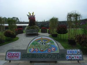 記念撮影用の花の竜