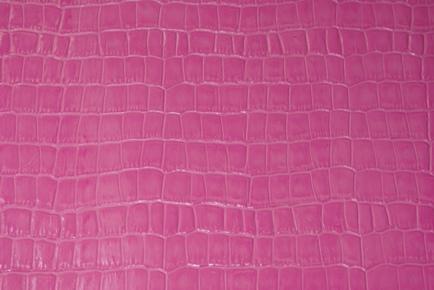 ピンククロコ型押し革