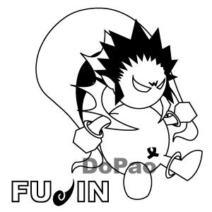 雷神、風神 白黒 オリジナルデザイン キャラクター