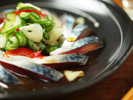 鯖刺身のポン酢サラダ14