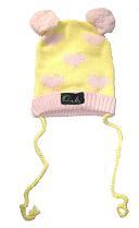 Oobi Baby ケーブルニットハット/ Yellow Bear Hat with Pink Hearts詳細・購入ページへ