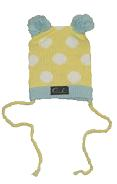 Oobi Baby ケーブルニットハット/ Yellow Bear Hat White and Blue Dots詳細・購入ページへ