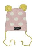 Oobi Baby ケーブルニットハット/Pink Bear Hat With White Dots and Yellow Features詳細・購入ページへ