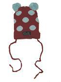 Oobi Baby ケーブルニットハット/ Rocket Red Bear Hat With Sky Blue Dots詳細・購入ページへ