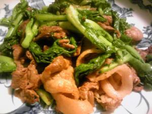 「イノシシと菜の花の炒め物」
