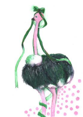 ピンクの駝鳥